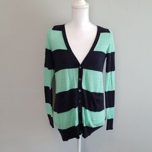 Anthropologie Mint and Navy Cardigan